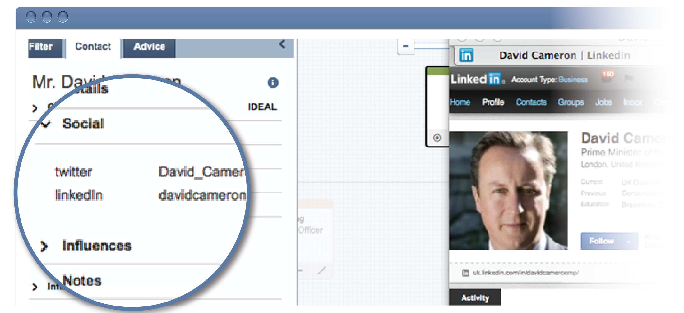 Easy Access to LinkedIn or Twitter for Each Contact